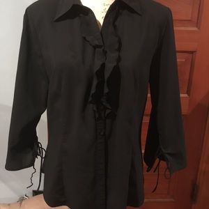 Black blouse w/ruffle down middle and tie sleeves